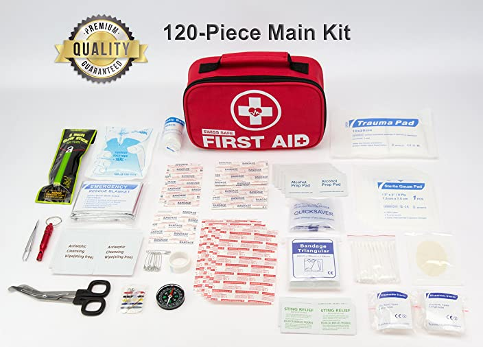 2-in-1 First Aid Kit (120 Piece) for Emergency at Home, Outdoors, Car, Camping, Workplace, Hiking & Survival.