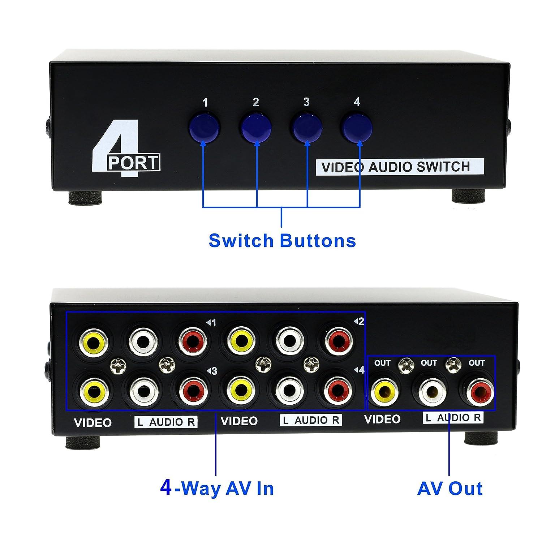 amazon com optimal shop 4 port input 1 output audio video av rca switch 4 ways selector splitter box home audio theater