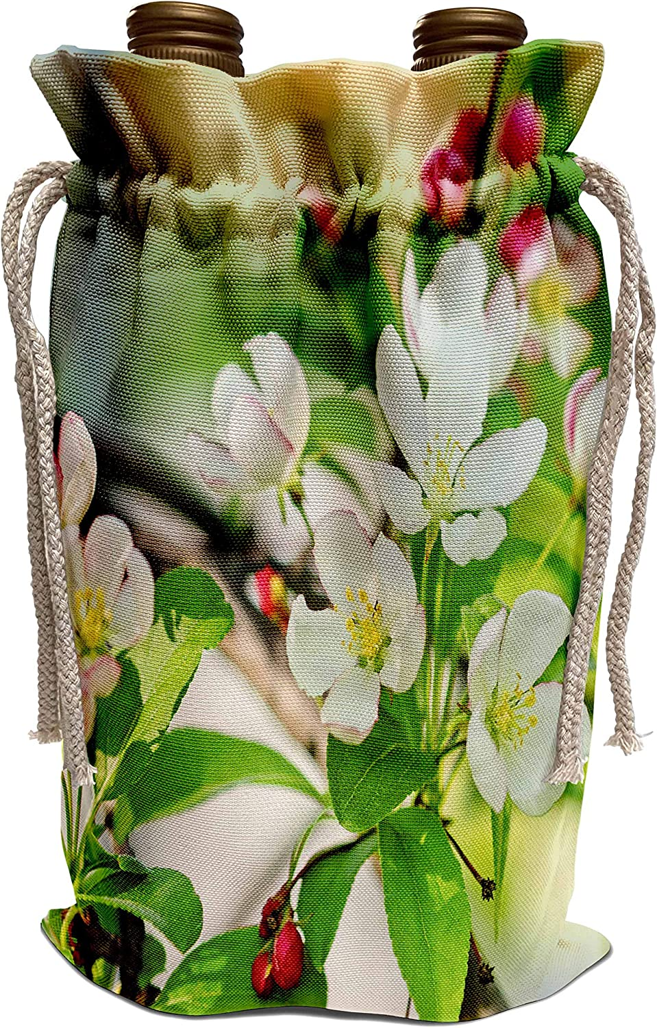 3dRose Alexis Photography - Flowers Crab Apple Blossoms - Cluster of white paradise apple flowers, green leave, red buds - Wine Bag (wbg_305606_1)