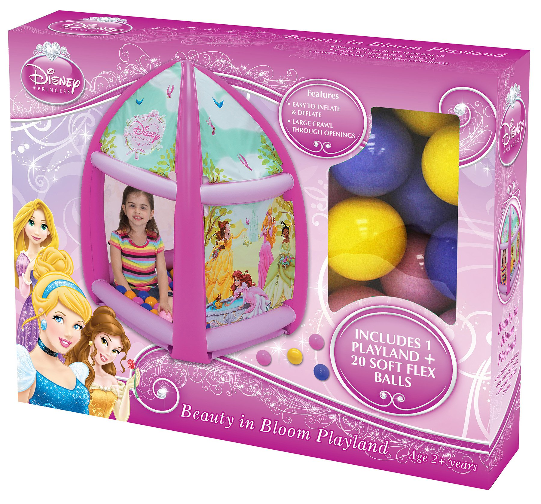 Disney Princess Beauty in Bloom Ball Pit, 1 Inflatable & 20 Sof-Flex Balls, Pink, 37'' W x 37'' D x 34'' H
