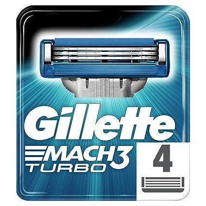 Gillette Mach3 Turbo Recambio de Maquinilla de Afeitar para Hombre - 4 Recambios