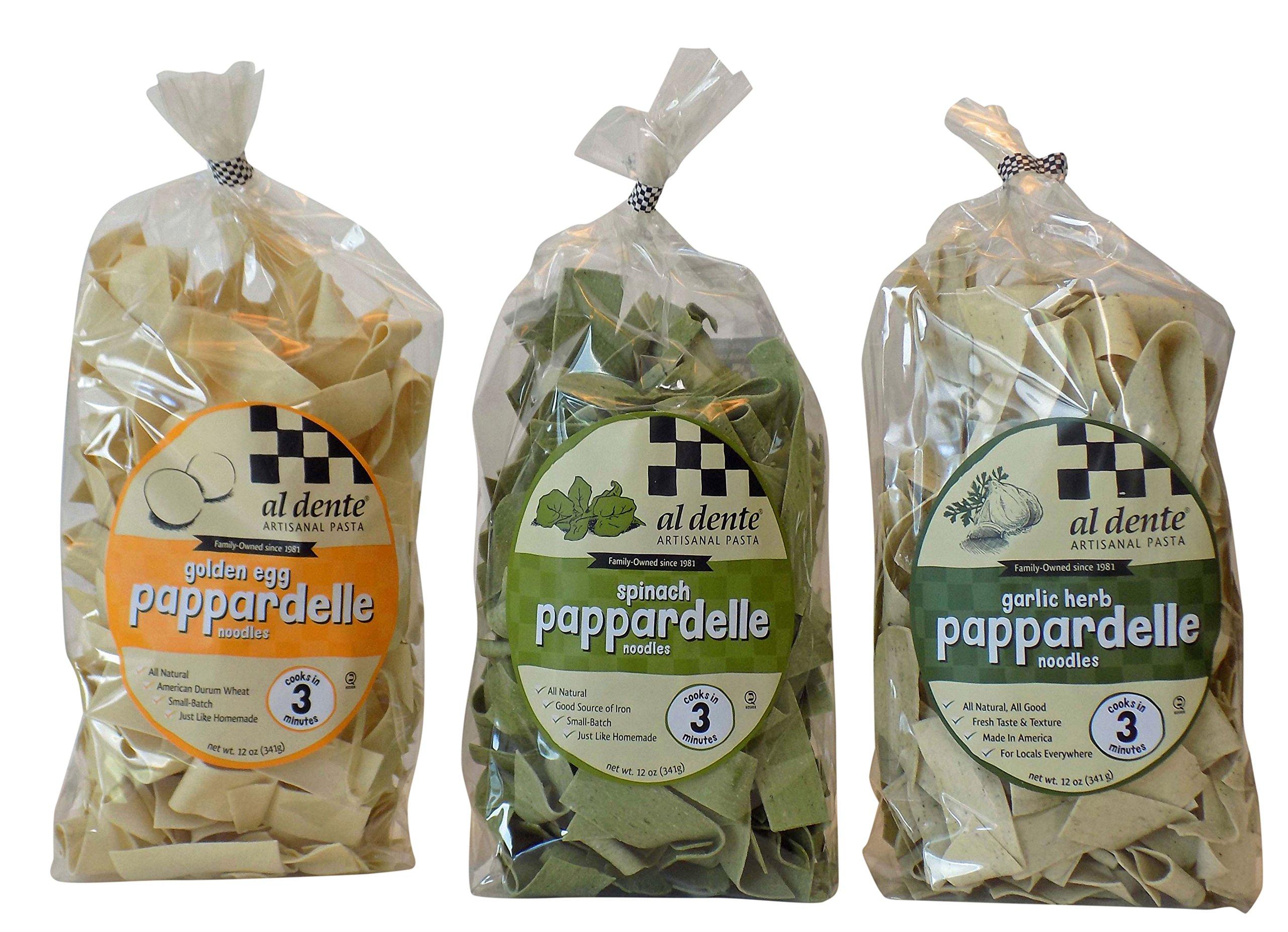 Al Dente Artisanal Pappardelle Pasta Variety Sampler - Golden Egg, Spinach, Garlic Herb (Pack of 3)