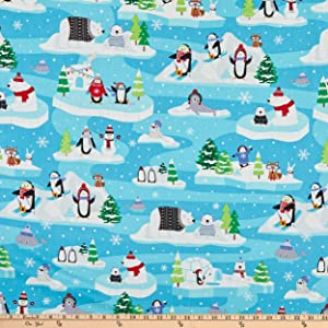 Kanvas Snow Place Like Home Snow Fun Scenic Turquoise Fabric by The Yard