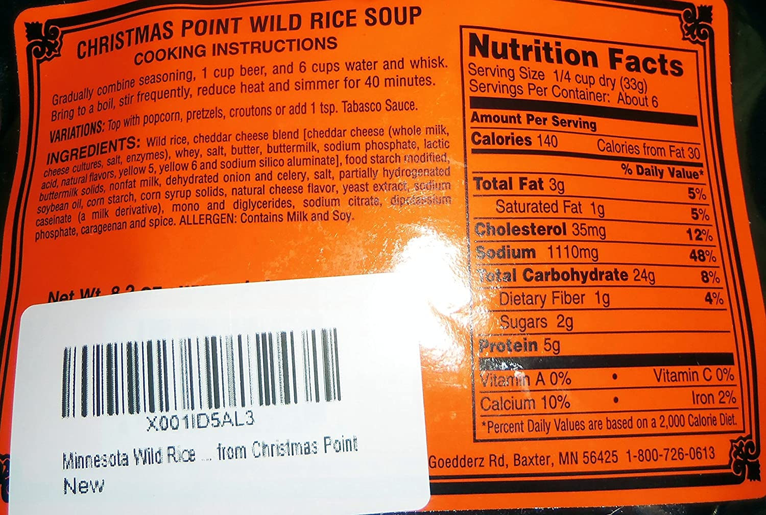 Christmas Point Baxter.Minnesota Wild Rice Beer Cheese Soup Mix From Christmas Point