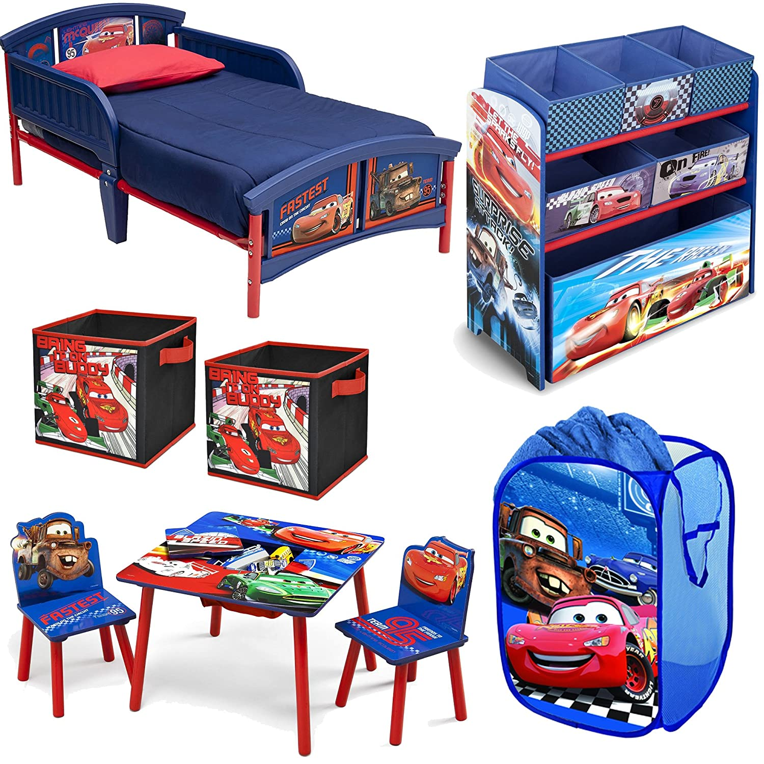 Amazon.com: Disney Delta Children Pixar Cars Lightning McQueen And Mater  8 Piece Furniture Set   Plastic Toddler Bed, Table And Chair Set, Multi Bin  Toy ...