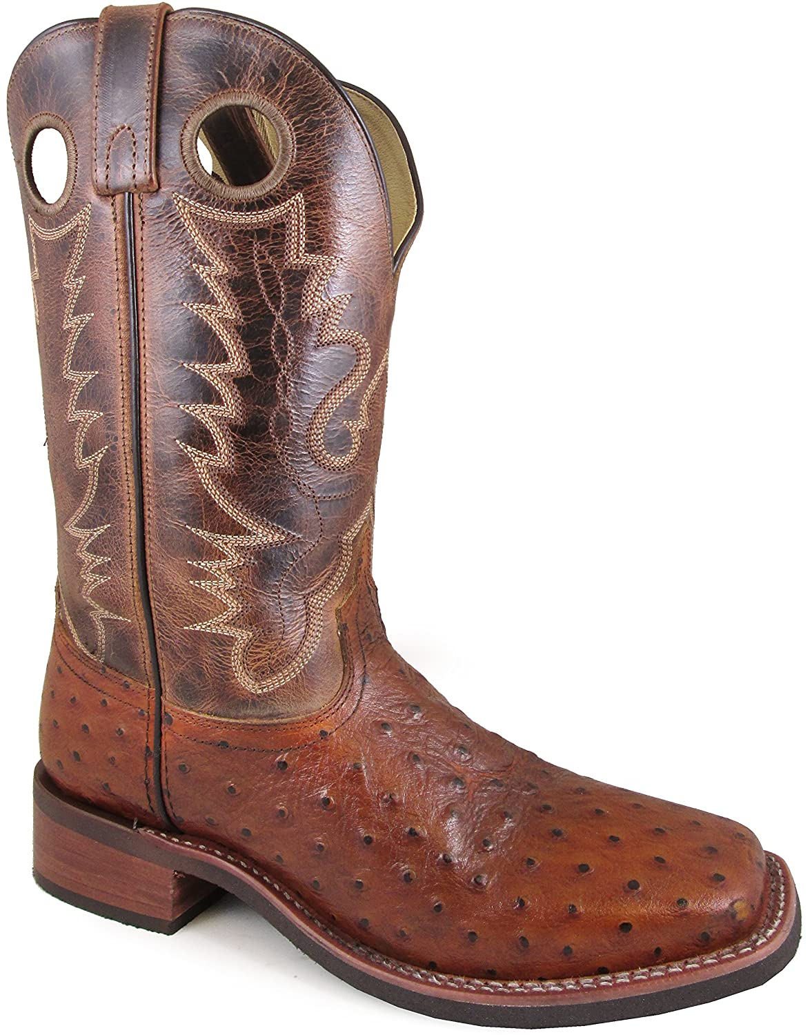 Smoky Mountain Men's Danville Pull On Stitched Textured Square Toe Cognac/Brown Crackle Boots Smoky Mountain Boots 4048