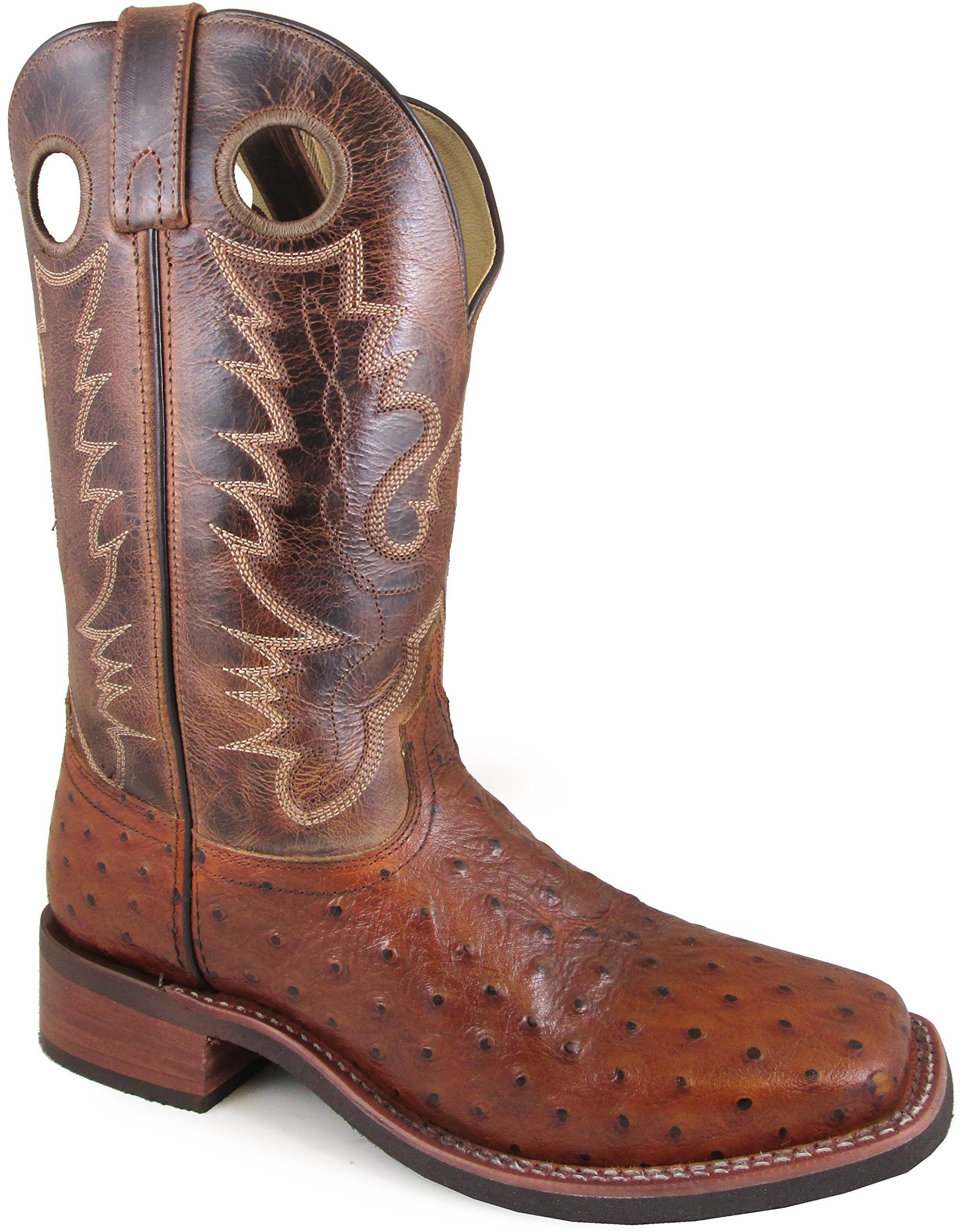 Smoky Mountain Men's Danville Pull On Stitched Textured Square Toe Cognac/Brown Crackle Boots 9.5EE