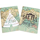 Lot de 2 carnets de voyage Format A5 Inscriptions en anglais « Say Yes to Adventure » et « Lets Explore »
