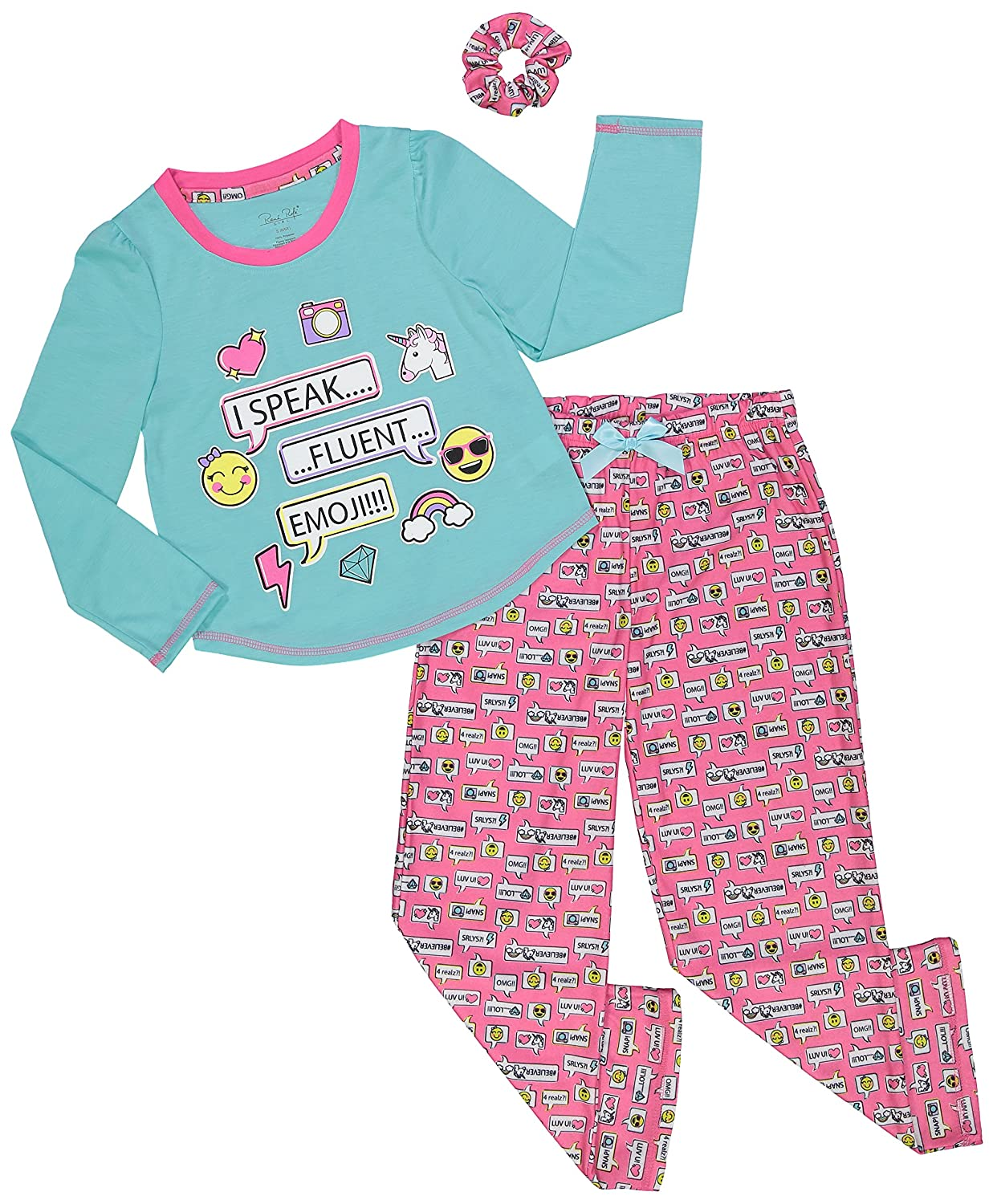 Girls Long-Sleeve Shirt and Pants Pajama with Scrunchie Gift Set