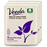 Veeda Ultra Thin Super Absorbent Day Pads Are Always Chlorine Pesticide Dye and Fragrance Free Natural Cotton Sanitary…