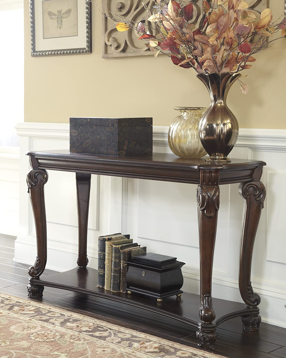 Ashley Furniture Signature Design – Norcastle Sofa Table – Rectangular – Dark Brown