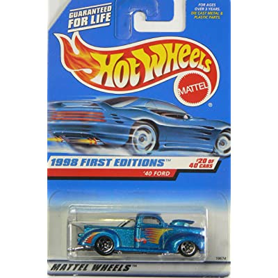Hot Wheels - 1998 First Editions - 1940 Ford Pickup - Die Cast - #20 of 40 Cars - Blue Metallic Paint - Collector #654 - Limited Edition - Collectible 1:64 Scale: Toys & Games