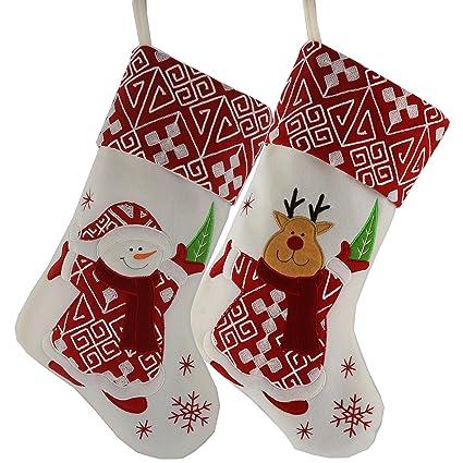 wewill classic christmas stockings set of 2 santa snowman xmas character 17 inch style - Santa Snowman 2