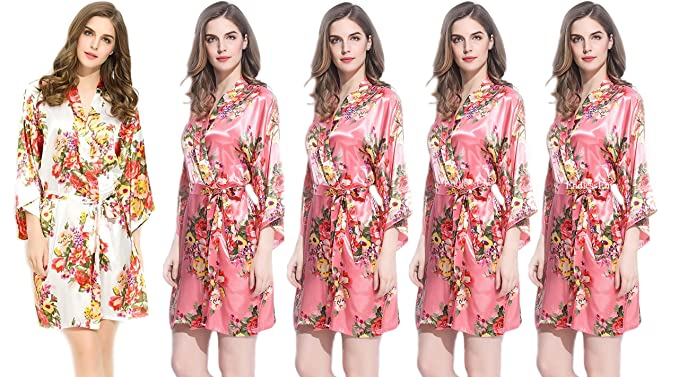 927973d7104 Image Unavailable. Image not available for. Color  Floral Satin Bridesmaids  Robe ...