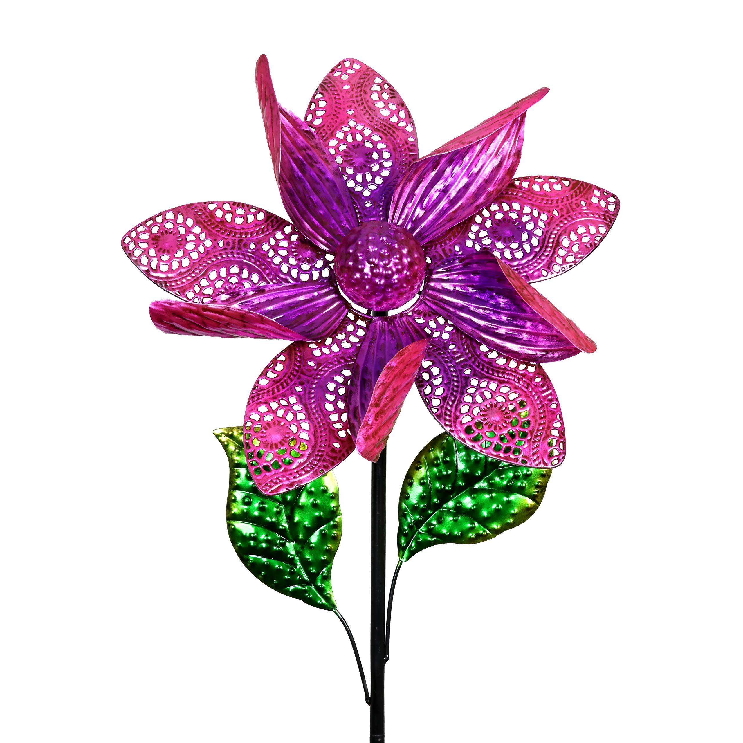 Exhart Dual Layer Purple Flower Wind Spinner Garden Stake - Spinning Metal Flower Garden Stake w/Metal Lace Petals - Kinetic Art Flower Decor Metal Spinners in Purple, 15 x 52 Inches