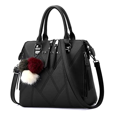 74d0693029 Amazon.com  Nevenka Women Bags Handbag PU Leather Zipper Bags Casual Purse  Totes (BLACK)  Shoes