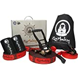 ZenMonkey Slackline Kit with Overhead Training Line, Carry Bag, Tree Protectors, Instructions, 60 Foot - Easy Setup For Kids and Adults