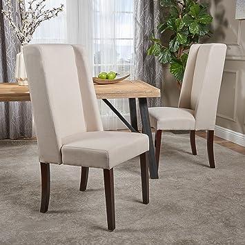 Amazon.com: Rosa tela marfil silla de comedor (juego de 2 ...