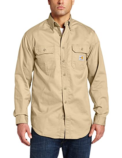 4a48f6776098 Amazon.com  Carhartt Flame-Resistant Twill Shirt with Pocket Flaps  Clothing