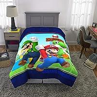 Nintendo Super Mario Kids Bedding - Edredón Reversible de Microfibra Suave, tamaño Individual de 64 x 86 Pulgadas, Multicolor