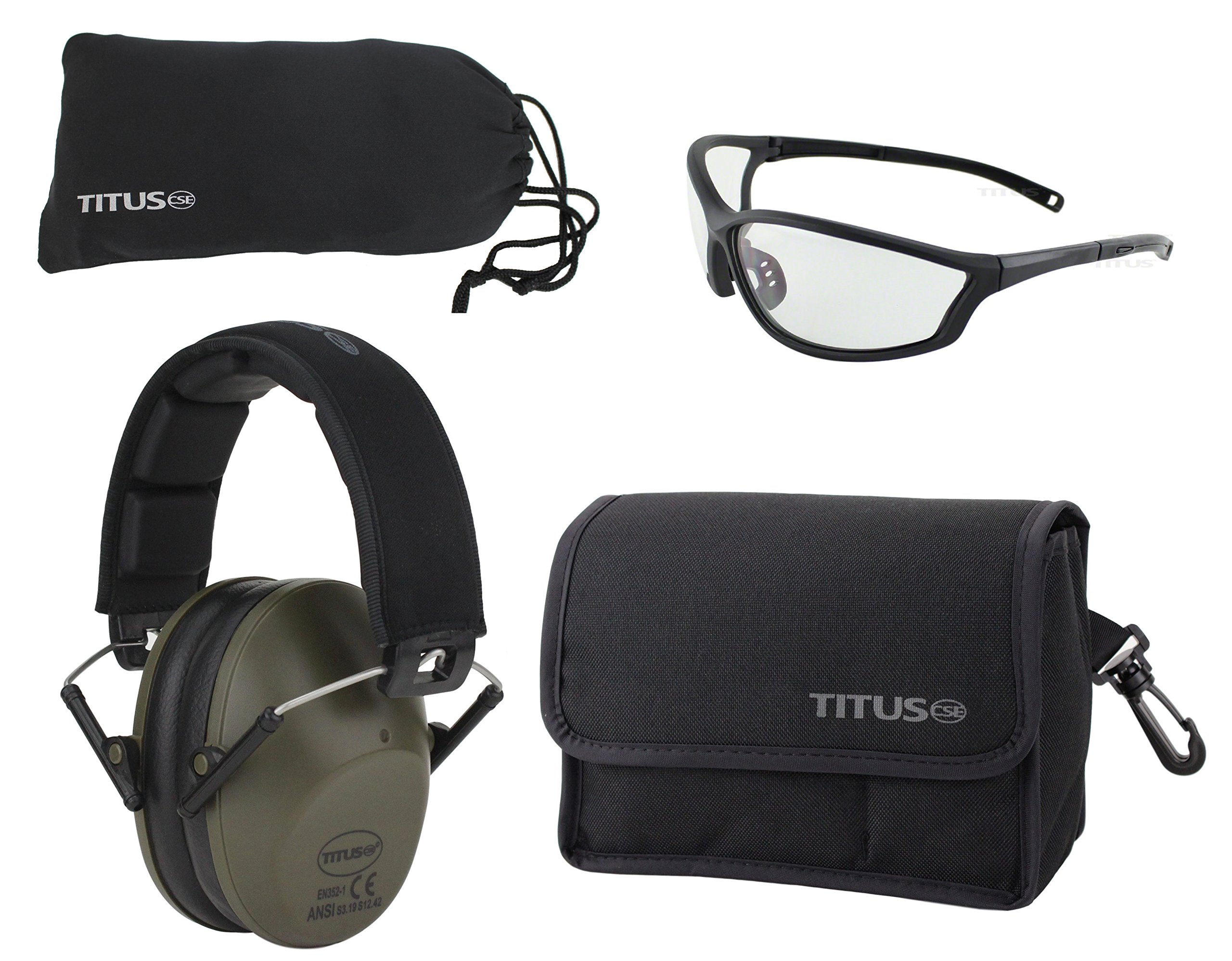 Titus TOP Slim-Line Safety Glasses and Earmuff Combos (Olive, G26 Clear w/Competition Frame)