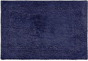 Chaps Home Camden 100% Ringspun Cotton Reversible Non-Slip Bathroom Rug, 21X34, Marine Navy