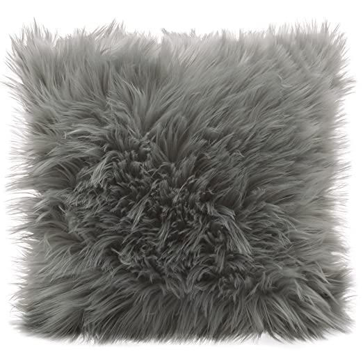 Cojín de pelo largo de CelinaTex, de pelo de oveja de imitación, tela, gris, Kissen 60 x 60 cm