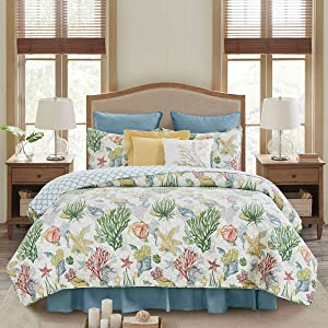 C&F Home Shellwood Sound 3 Piece White Blue and Green Coastal Beach Printed Full/Queen Quilt Set Quilt and Sham Bedding Set Full/Queen 3 Piece Set White