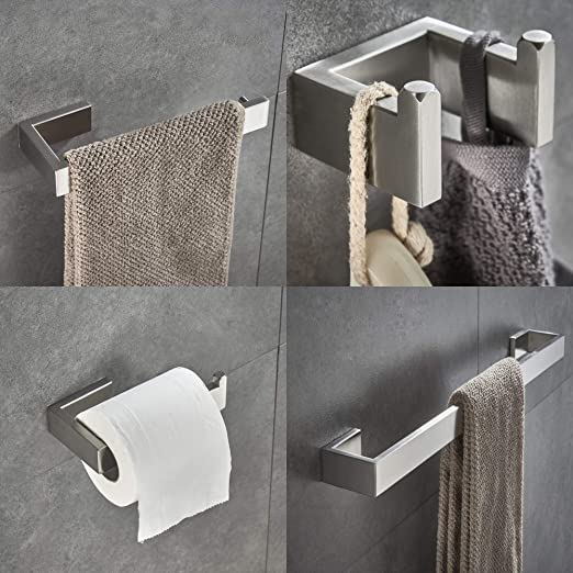 Contemporary Bathroom Hardware Accessories Sets Square Wall Mounted Stainless Steel Brushed Nickel Toilet Paper Holder Robe