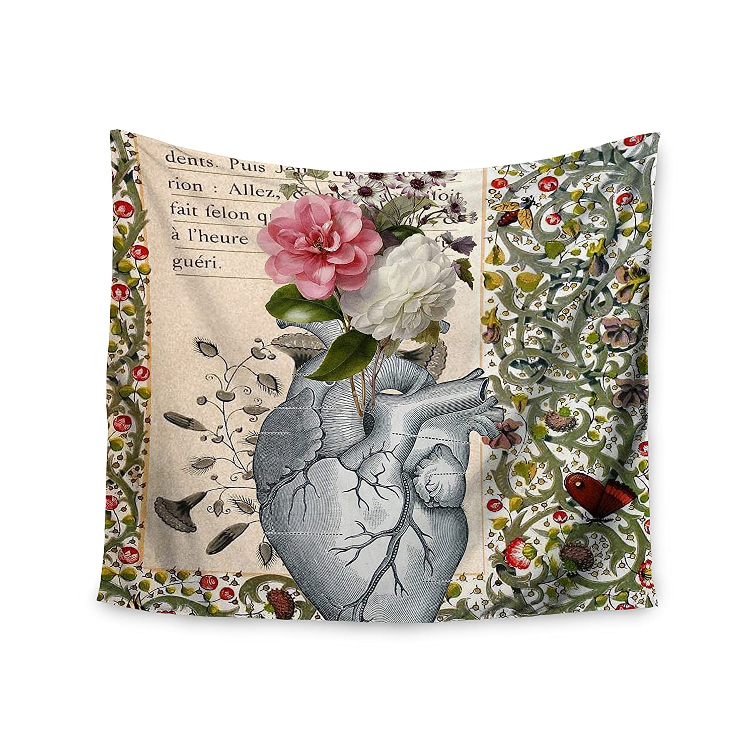 Kess InHouse Suzanne Carter Her Heart is A Garden Beige Green Wall Tapestry 51 X 60