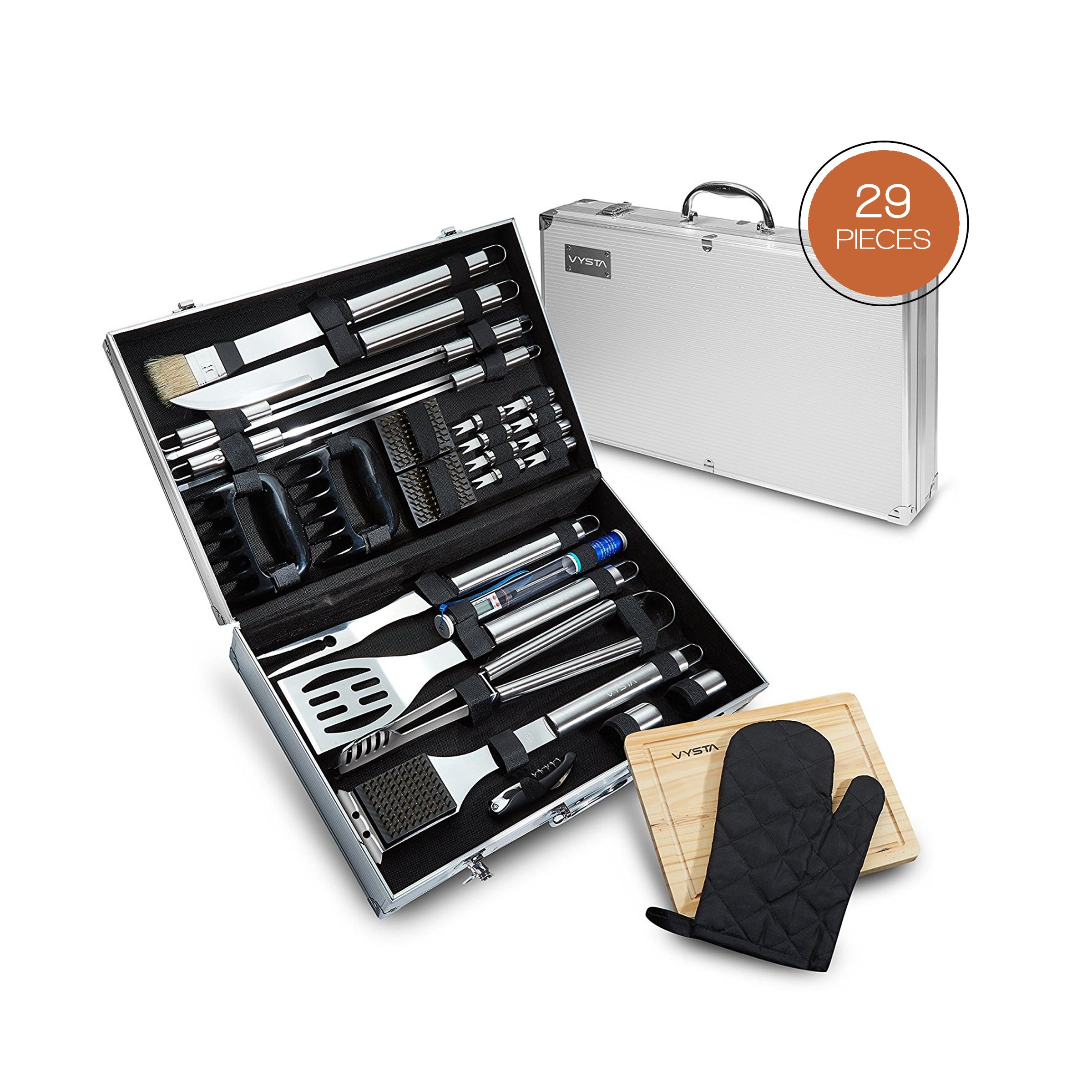 Vysta 29 Piece BBQ Tools Set - Barbecue Accessories With Carrying Case - Professional Grade Stainless Steel Grill Utensils - Spatulas, Tongs, Forks Skewers, Knives, Brushes and More - by
