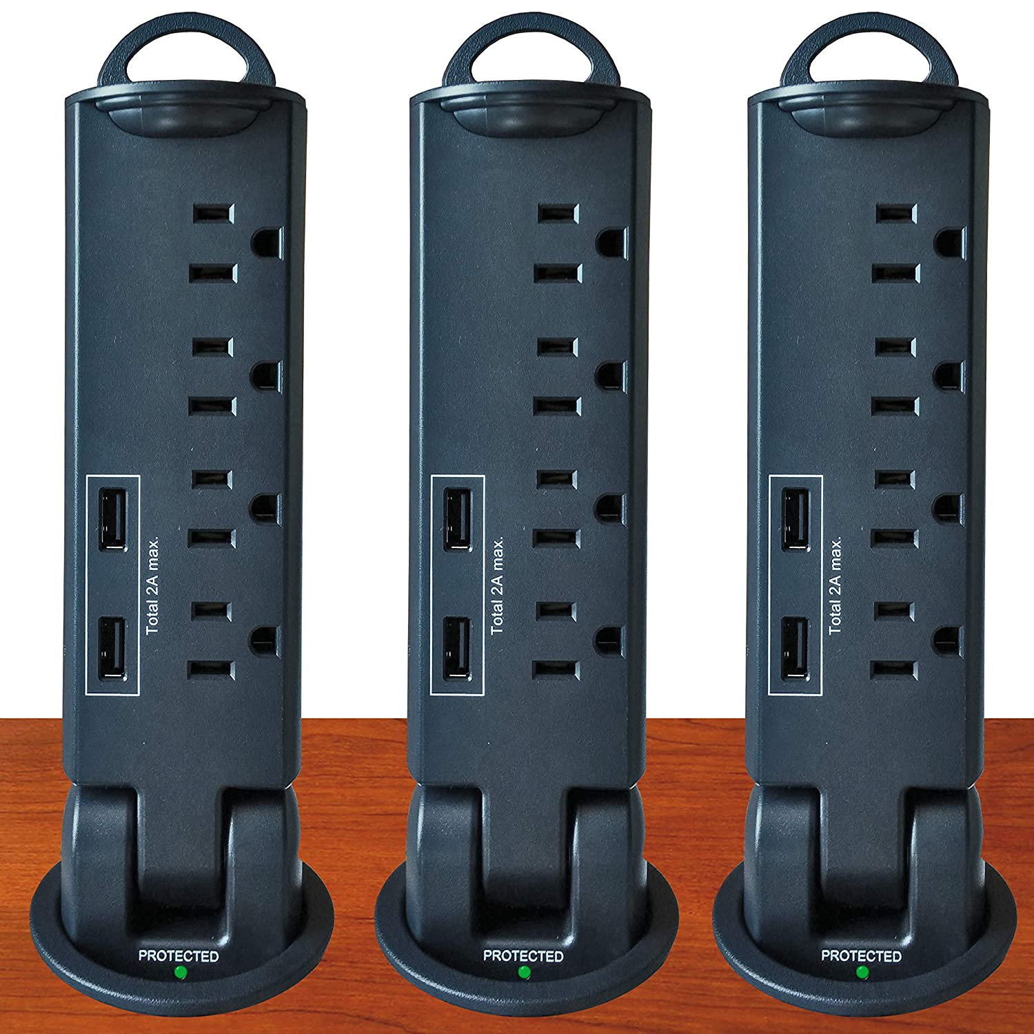 Electriduct Desktop Pull-Up PowerTap Grommet with Surge Protector and USB 2 Pack FBA/_PDC-SW-4P-2U-2