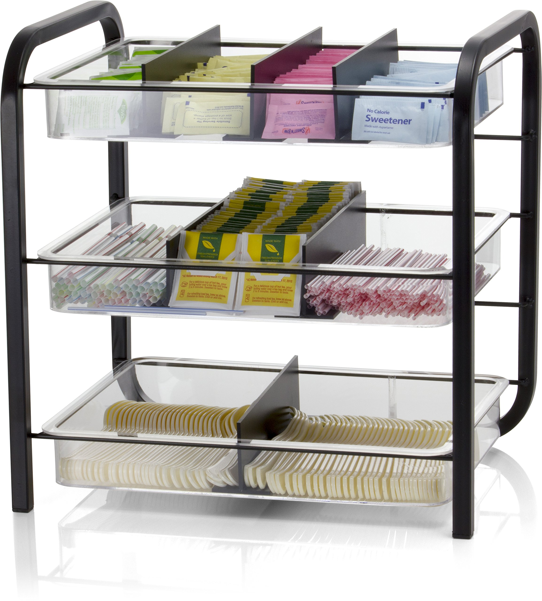Officemate Giant Condiment and Cutlery Organizer. Contains Three Trays with Six Dividers. Black/Clear (28008)