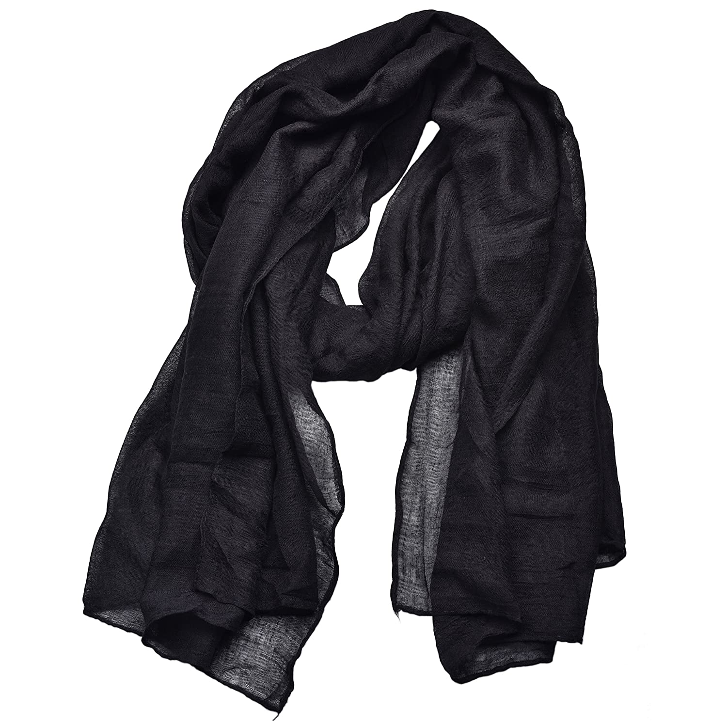 0ac4e3783 Woogwin Light Soft Scarves Fashion Scarf Shawl Wrap For Women Men (Black)  at Amazon Women's Clothing store:
