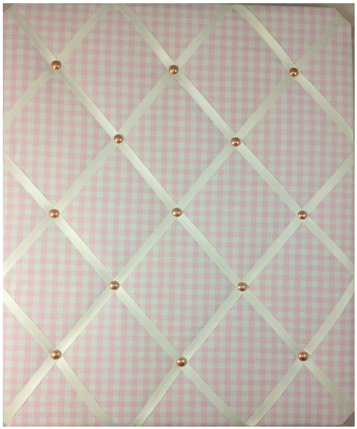 """Notice Boards, Memo Boards, Ribbon Boards Size Large 40x48cm """"Pink Gingham with Rose Gold Detail"""" Wall Decor Eternal Earth"""
