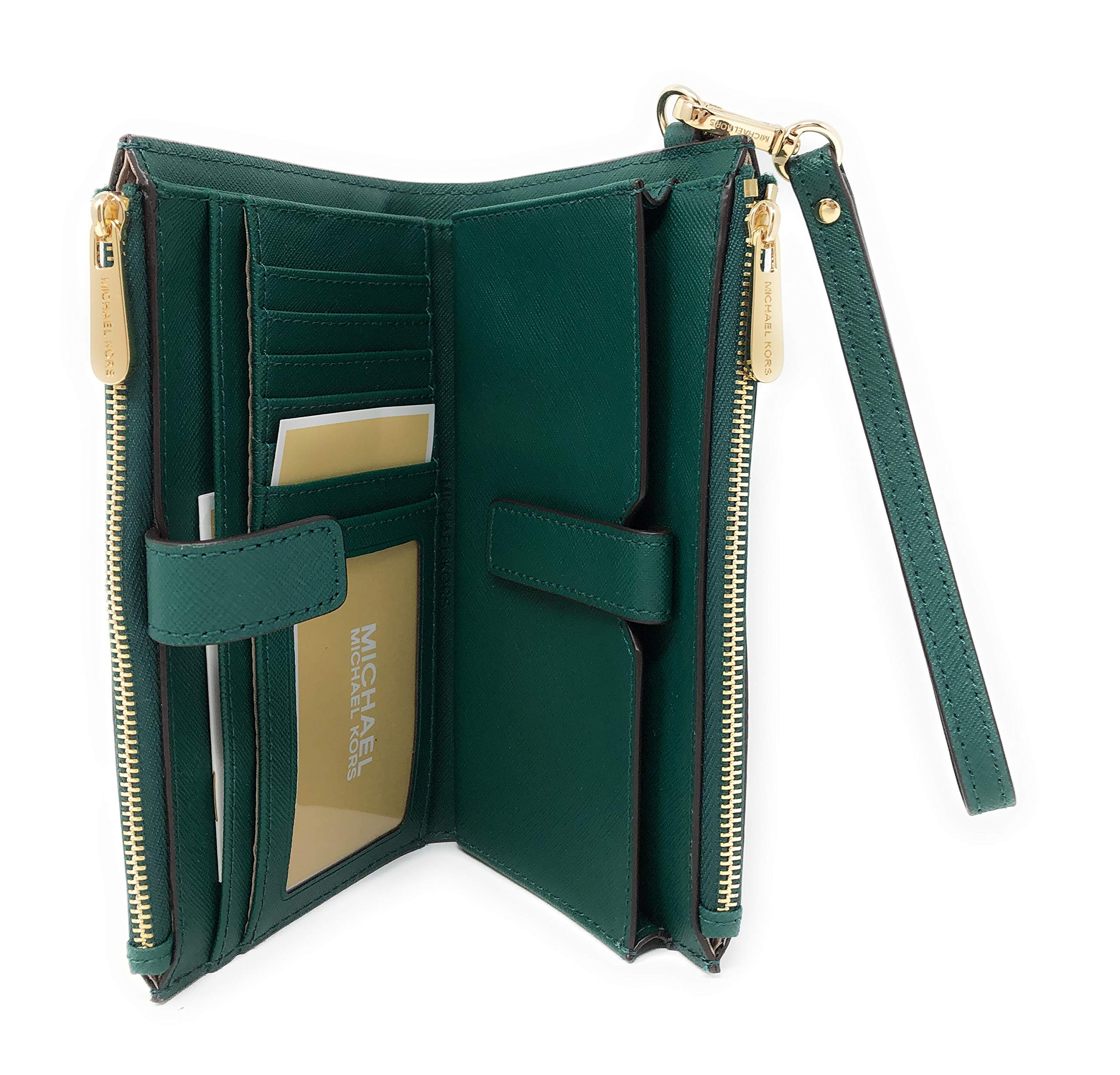 Michael Kors Jet Set Travel Double Zip Saffiano Leather Wristlet Wallet in Emerald by Michael Kors (Image #4)