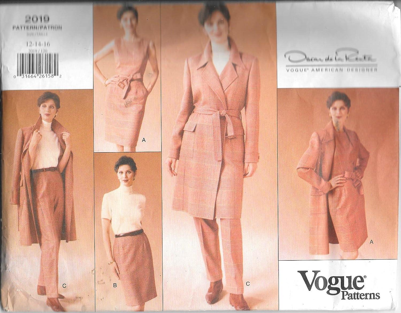 Vogue 2019 Coat, vestido, cinturón, falda y pantalones patrones de ...