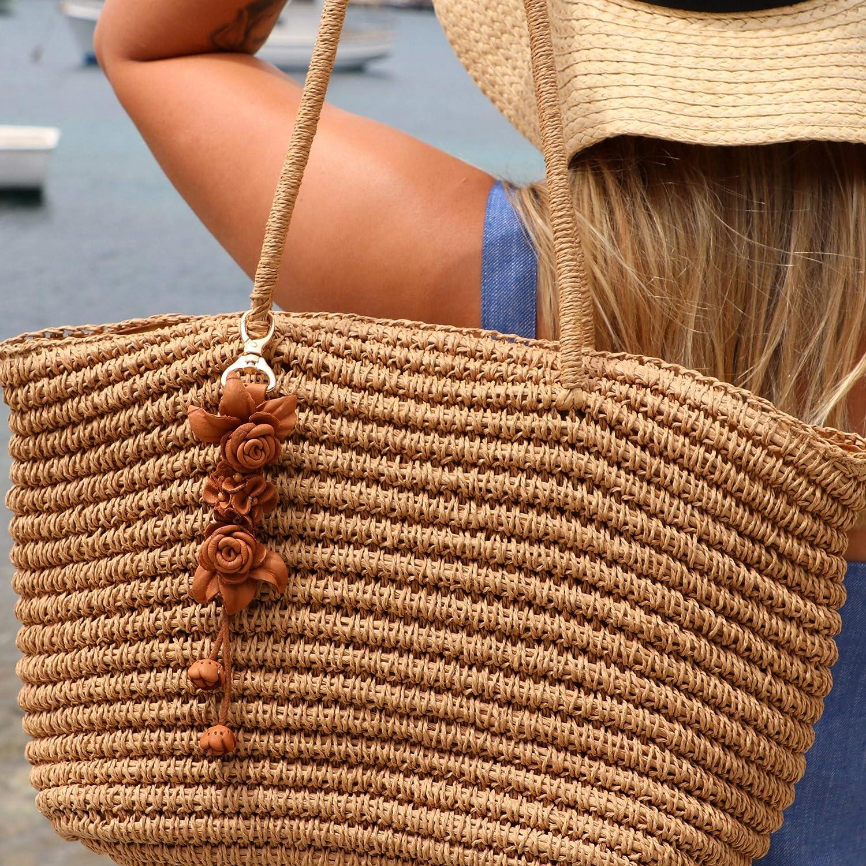Ella Bonna en Cuir Twin Rose Designer Tassel pour Les Femmes Sac /à Main Sac id/ée Cadeau Design Unique Sac /à Dos Charme /à la Main Beige Sac /à Main