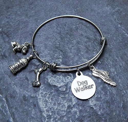 Dog Walker Gift Charm Bracelet Stainless Steel Expandable Bangle