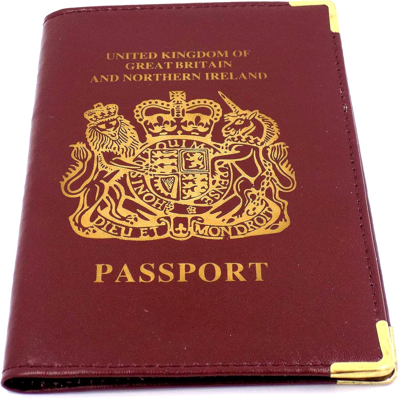 Premium Leather - Cartera para pasaporte de piel Hombre marrón Rojo Marrón Talla única: Amazon.es: Ropa y accesorios