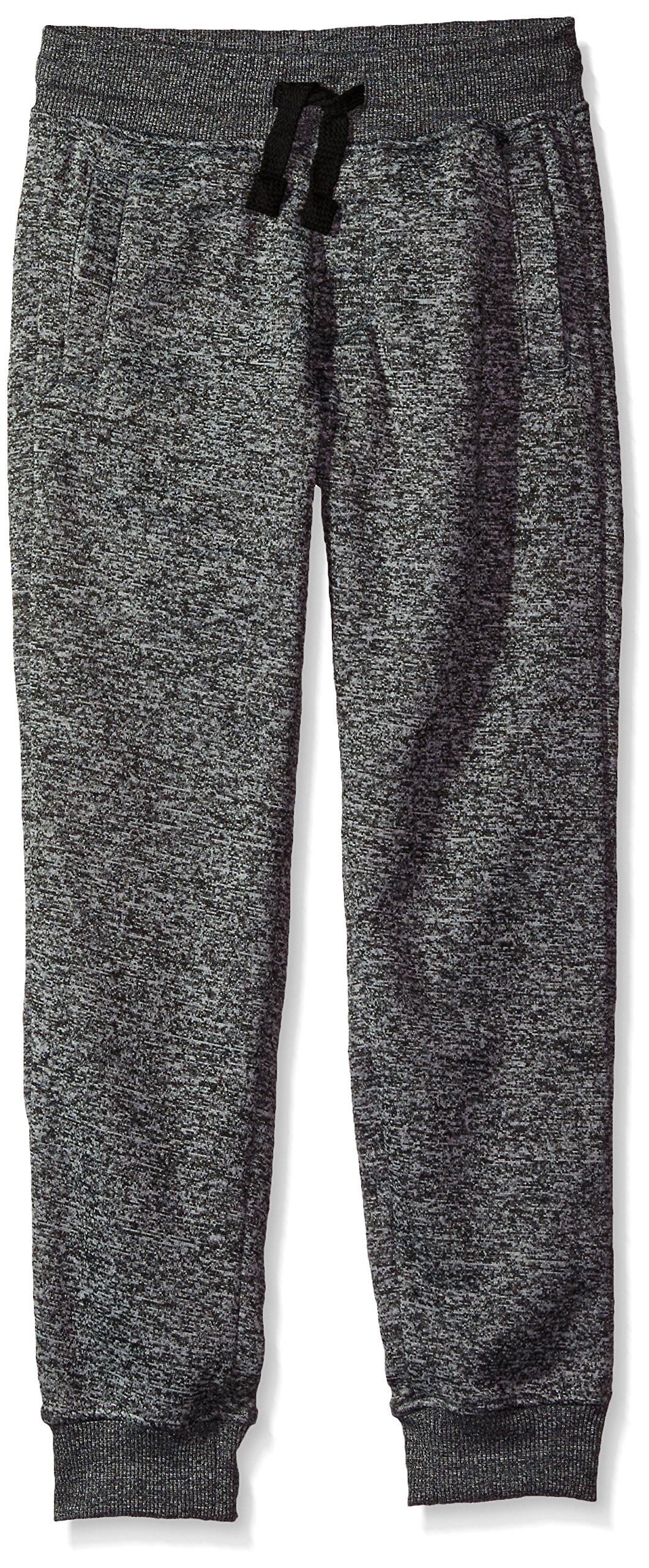 Southpole Big Boys' Jogger Fleece Pants in Basic Colors, Marled Grey(New/Logo Patch), Medium