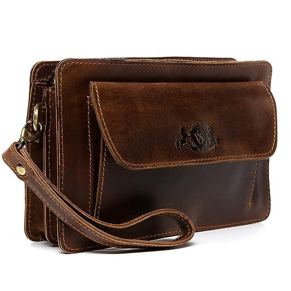 SID & VAIN® Bolso de muñeca Cornwall Bolso Bolso para Hombres Piel marrón: Amazon.es: Equipaje