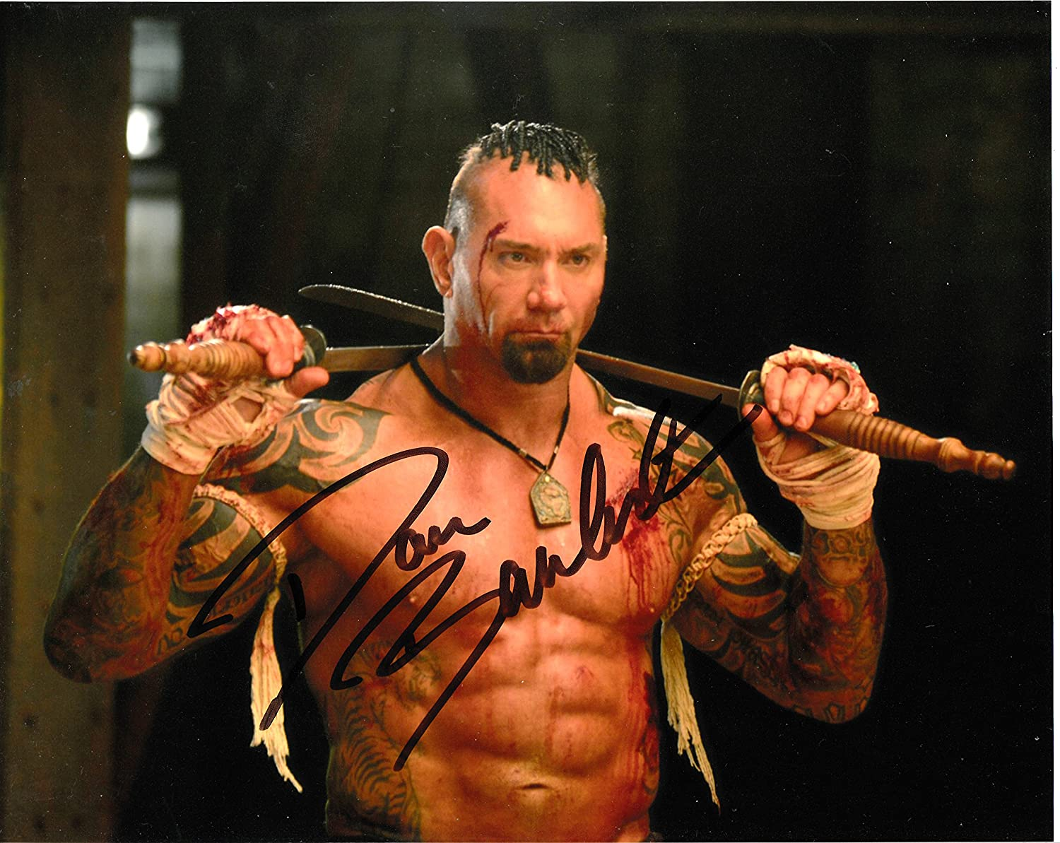 Signing Dreams Autographs Dave Bautista unterzeichnet 25,4 x 20,3 cm Farbe Foto – Spectre – Guardians Of The Galaxy – 100% Echtheit garantiert – in Person Dealer, UACC Registriert #