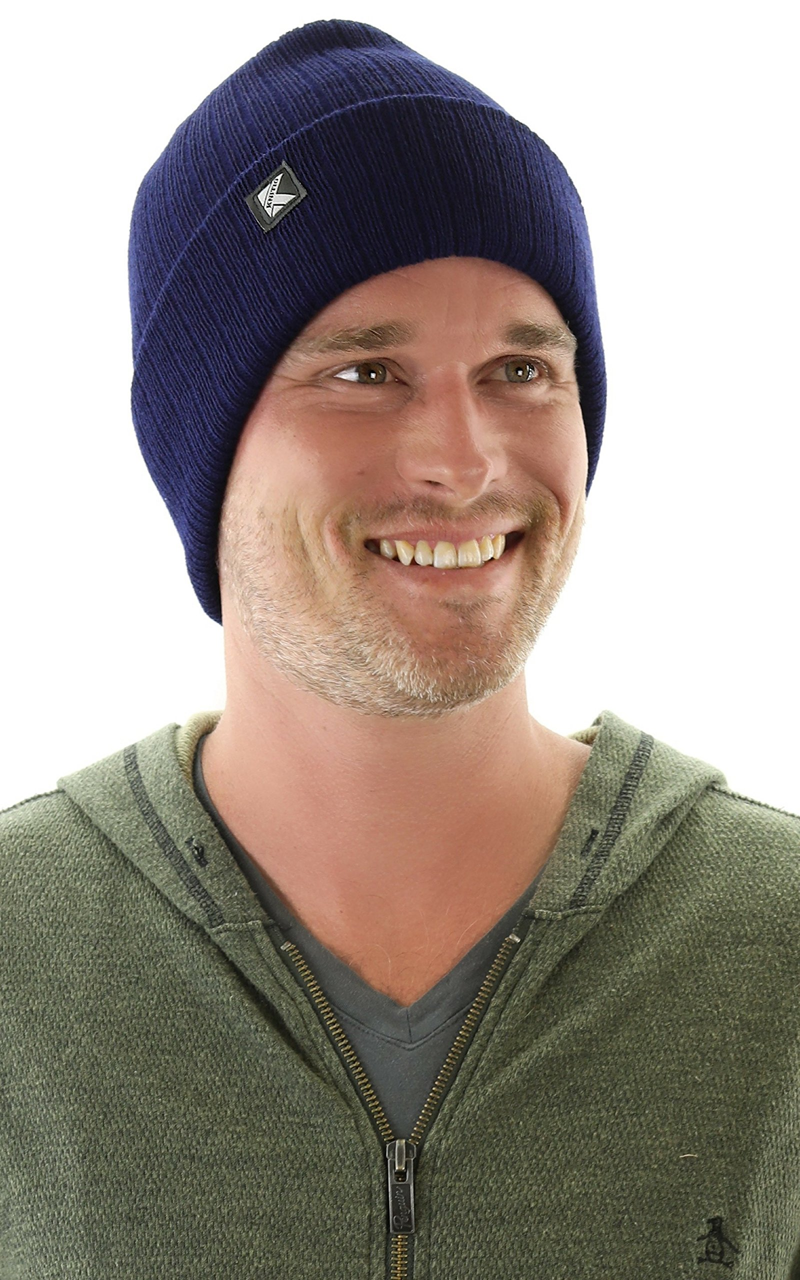 Knitio Men's Cuffed Winter Beanie With Thinsulate | Warm, Comfortable, Durable Winter Hats For Men | Navy by Knitio (Image #1)