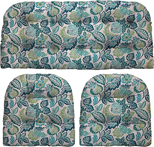 RSH D cor Indoor Outdoor Blue Plaid Scroll Prints – 3 Piece Tufted Wicker Cushion Set 1 Loveseat 2 U-Shape – Choose Color Size Dailey Opal Blue Green Floral Scroll, LS 44 x22 US 21 x21