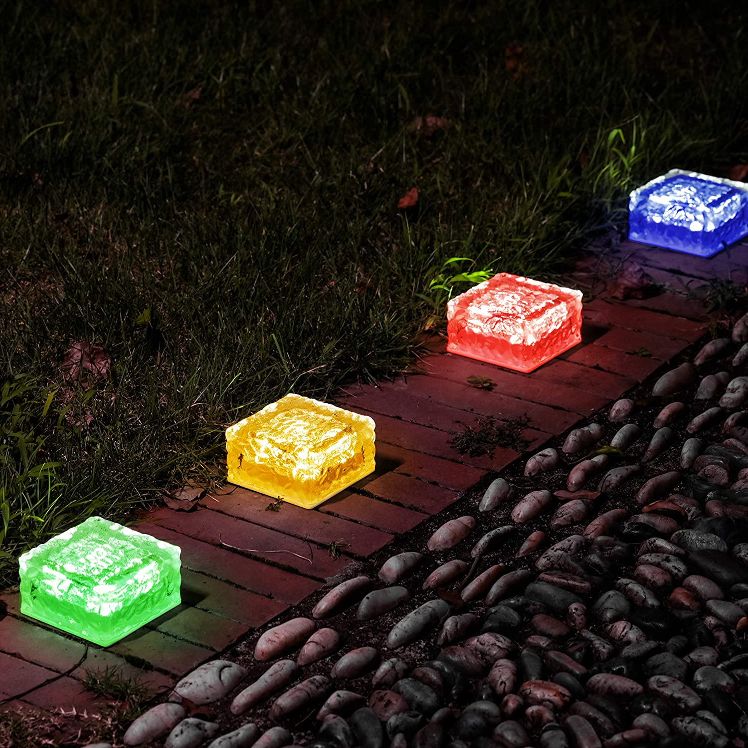 Christmas Outdoor Decorations Lawn, Solar Garden Lights Outdoor Decorative Glass Brick Ice Cube LED Light for Pathway, Driveway, Lanscape, Backyard, Patio (Color Changing)