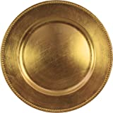 Charge it by Jay Gold Beaded Round Charger Plates Set of 4  sc 1 st  Amazon.com & Amazon.com: Gold Plastic Plates with Beaded Rims 13\