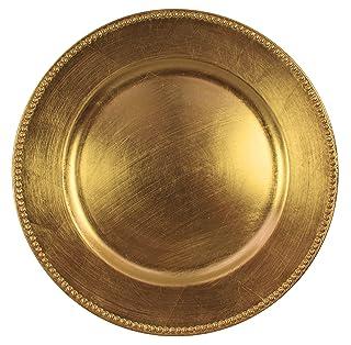 Cargar por Jay Gold Beaded - Juego de 4 platos de carga redondos Jay Imports 1180005AP-4