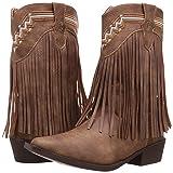 Roper Girls' Fringes Western Boot, Tan, 11 Child US