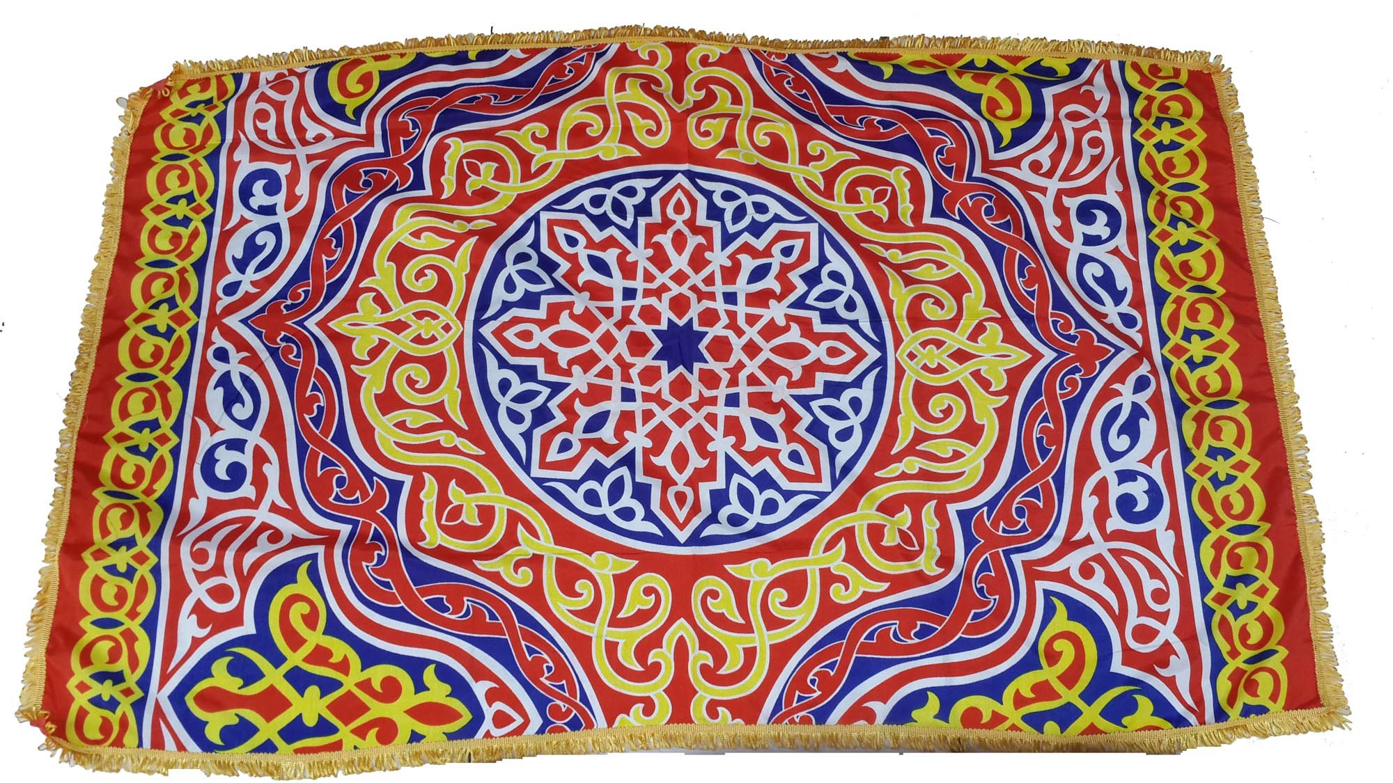 Egypt gift shops Exotic Tent Appliqué Textile Egyptian Khayamiya Ramadan Fabric Arabesque Patterns Islamic Ornate Table Topper Top Wall Decor Party Sofa Chair Cover Yellow Fringes Stitched Edges Trim